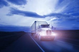 Semi Truck Driving in Evening